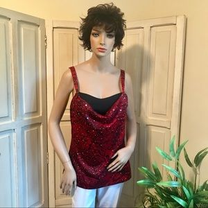 Red & black cami tank with silver sparkle.